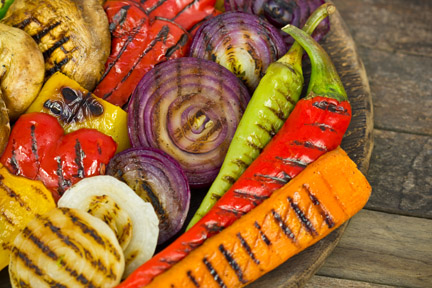 Grilled Late-Summer Vegetables with Three Sauces