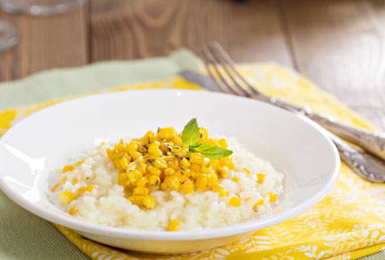 Corn Risotto with Basil Oil