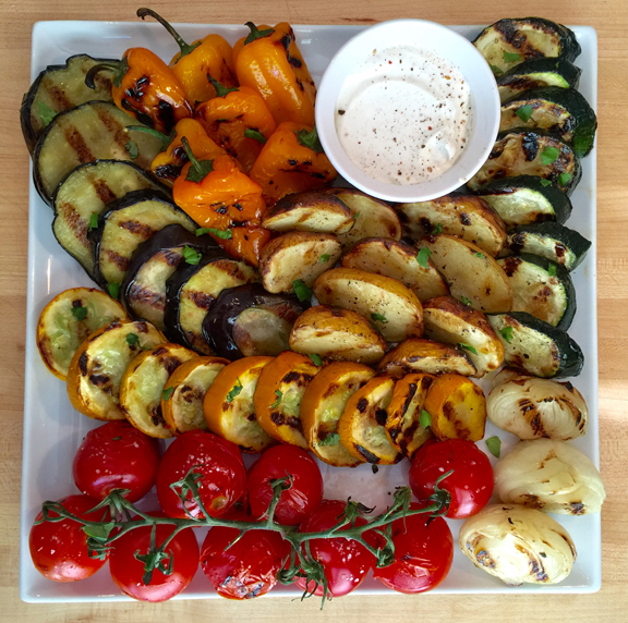 Grilled Garden Vegetables with Sour Cream Herb Sauce