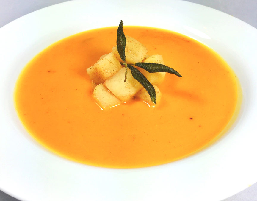 Cardamom Butternut Squash Soup With Apples and Fried Sage