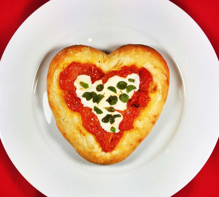 Individual Heart-Shaped Pizza Margherita with Cherry Tomato Sauce