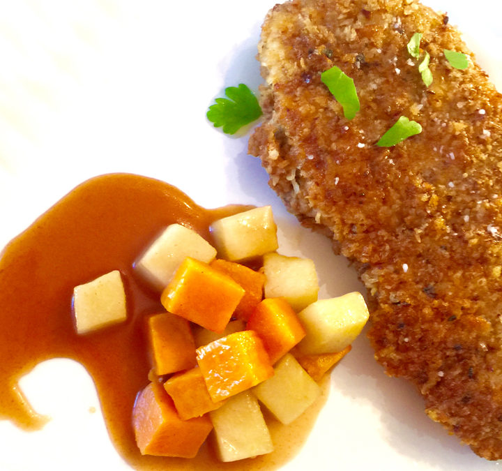 Pecan Parmesan Crusted Chicken Cutlets with Honey Bourbon Sauce