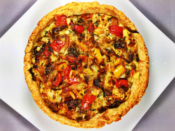 Roasted Winter Vegetable Quiche with Parmesan Cheese Crust
