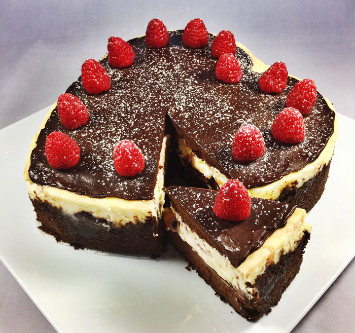 Heart-Shaped Raspberry Chocolate Cheesecake