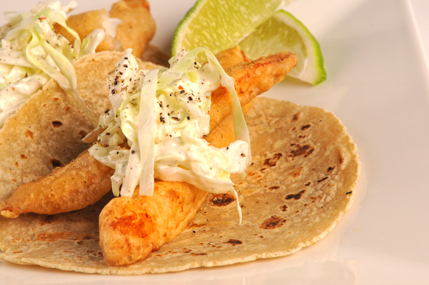 Beer Battered Fish Tacos with Horseradish Slaw