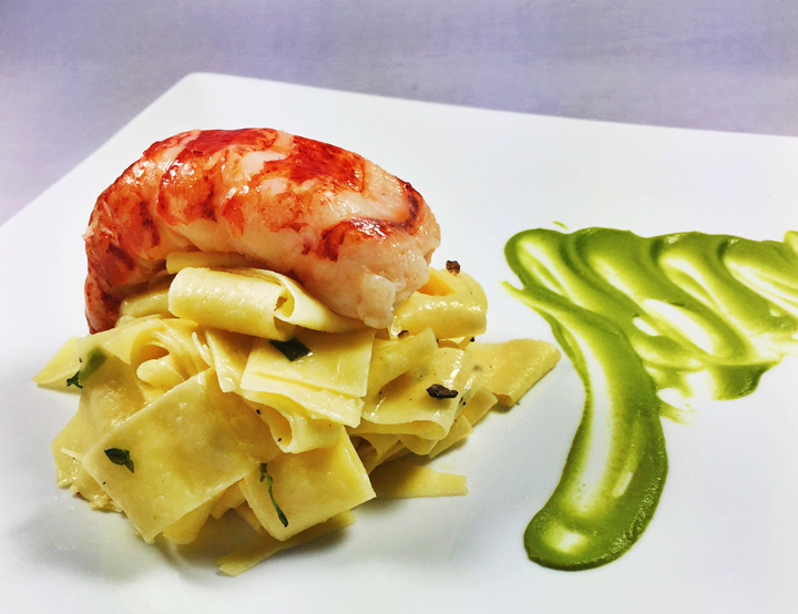 Butter-Poached Lobster Tails with Tarragon Truffle Pappardelle and Fresh Pea Puree