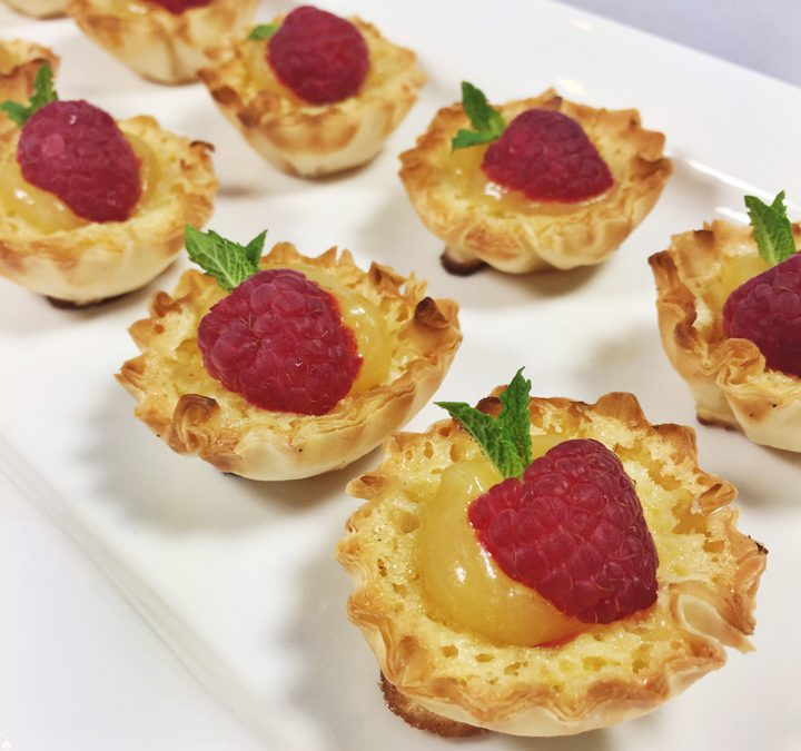 Buttermilk Tartlets with Lemon Curd and Raspberries