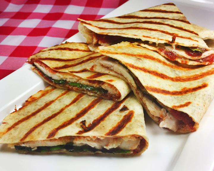 Grilled Italian Flatbreads with Chicken, Mozzarella, & Roasted Sicilian Tomato Jam
