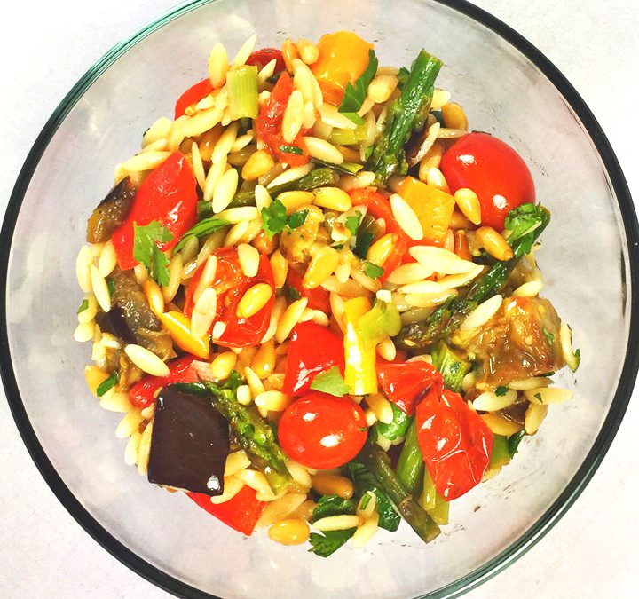 Roasted Vegetables, Orzo & Pine Nuts