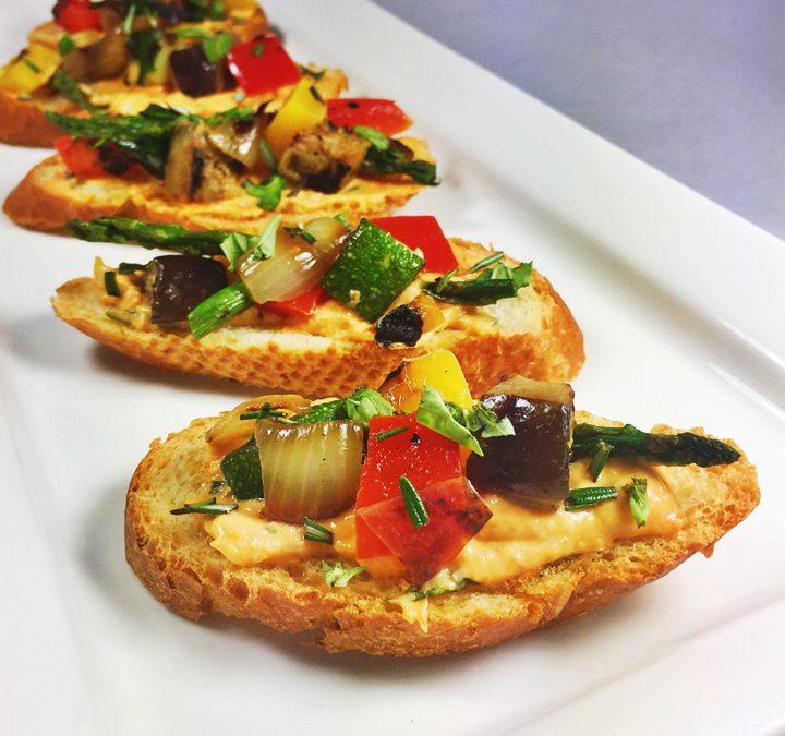 Summer Vegetable Crostini with Tomato Pesto