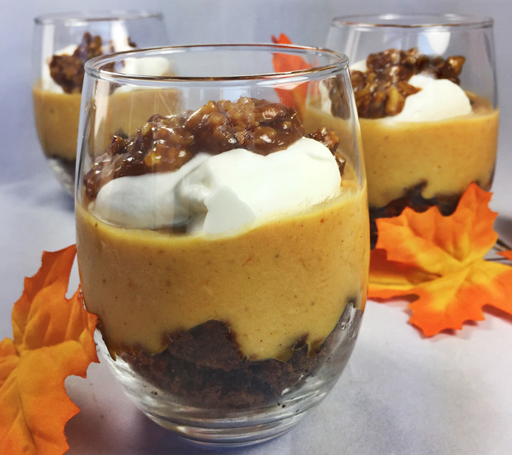 Layered Pumpkin Pudding with Brownies & Caramel Pecans