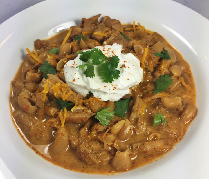 Spicy Chili with Turkey, Cheddar, & Sour Cream