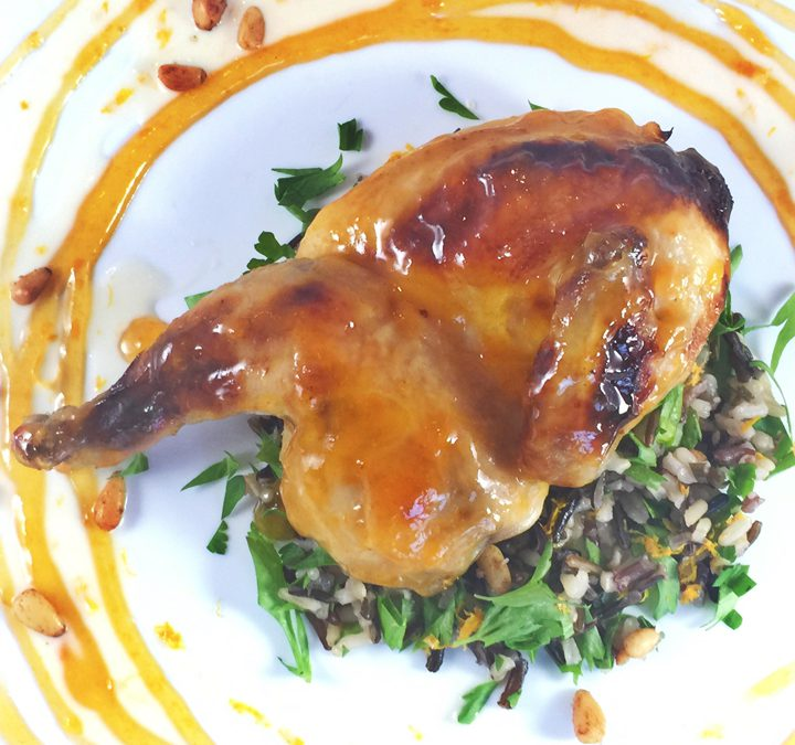 Cornish Game Hens with Apricot Glacé, Rosemary Wild Rice, Meyer Lemon Beurre  Blanc and Pine Nuts