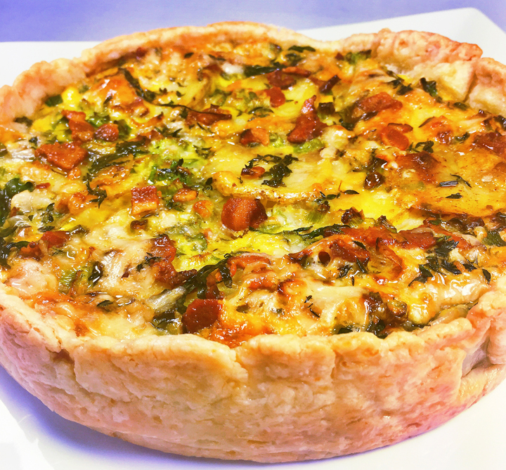 Layered Potato and Bacon Quiche with Arugula