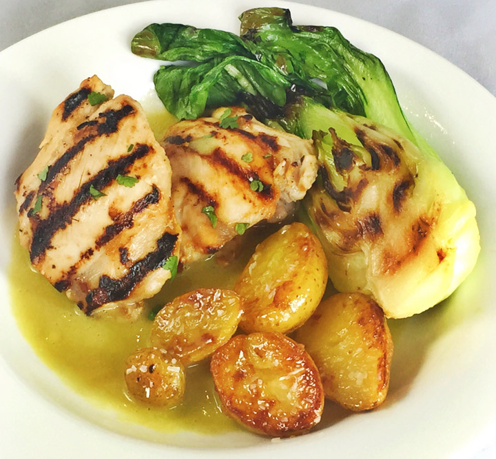 Asian-Spiced Chicken Thighs With Ginger Cilantro Sauce, Lemongrass Glazed Potatoes & Grilled Baby Bok Choy