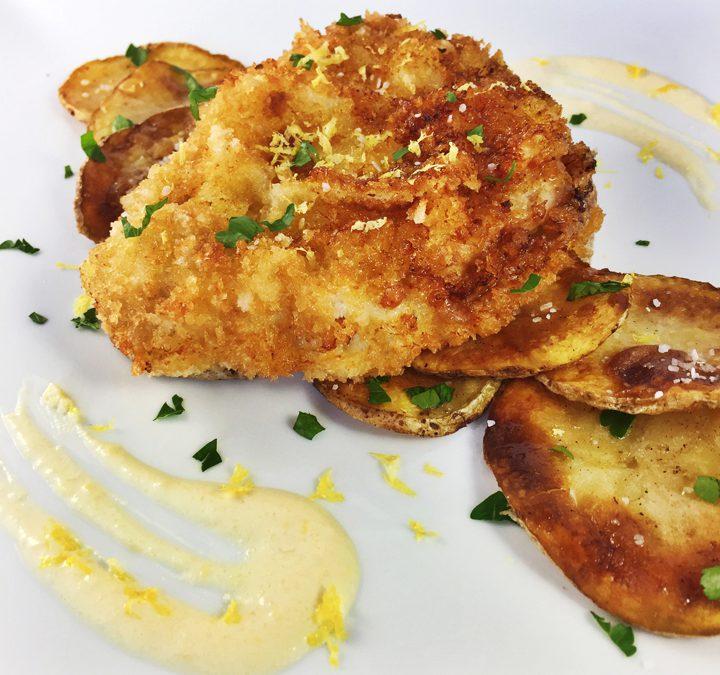 Pork Schnitzel with Lemon Cream Sauce And Sautéed Potatoes