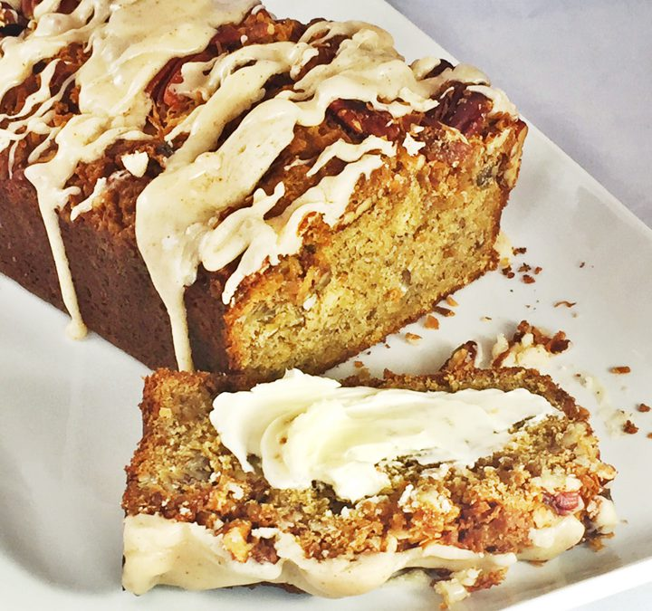Toasted Coconut & Pecan Streusel Banana Bread With Brown Butter Icing