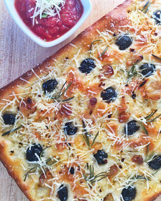 Black Olive, Roasted Garlic, and Rosemary Flatbread