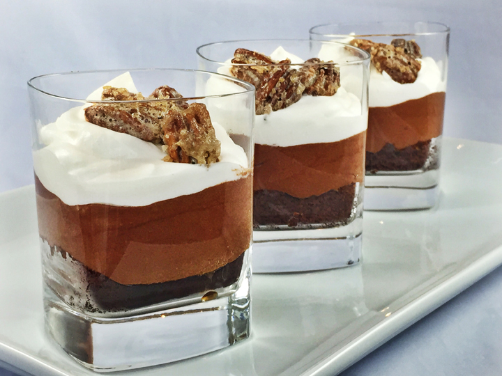Bourbon Layered Brownie with Chocolate Mousse, Crème Fraîche Whipped Cream, & Candied Pecans