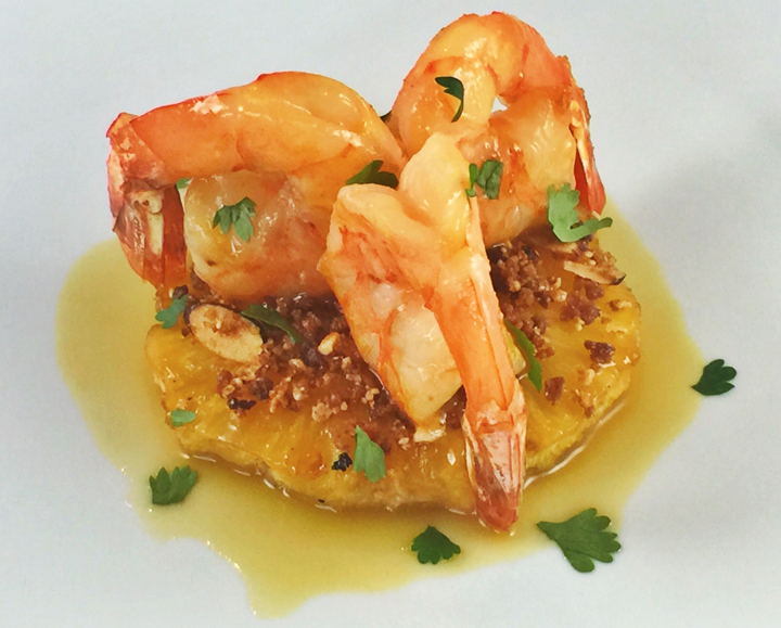 Sautéed Shrimp with Smoked Caramelized Pineapple, Toasted Coconut & Almonds