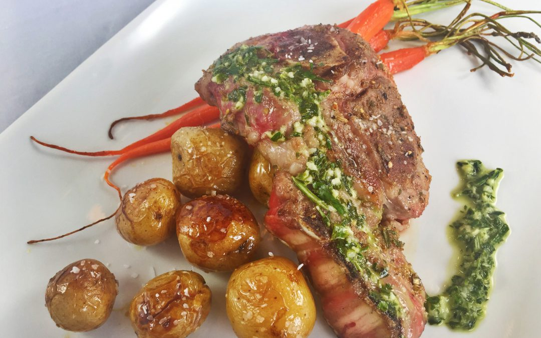 Grilled Lamb Steak With Parsley Sauce and Mint Glazed Vegetables