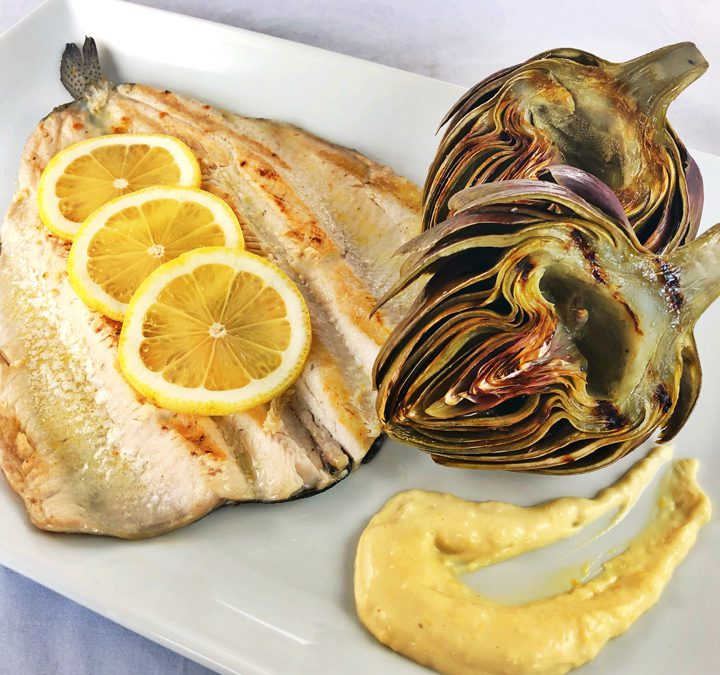 Grilled Trout & Artichokes With Easy Lemon Aioli