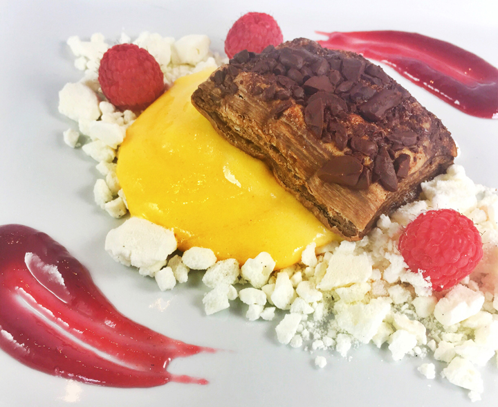 Lemon Curd With Meringue Crumbles Raspberry, & Chocolate Puff Pastry