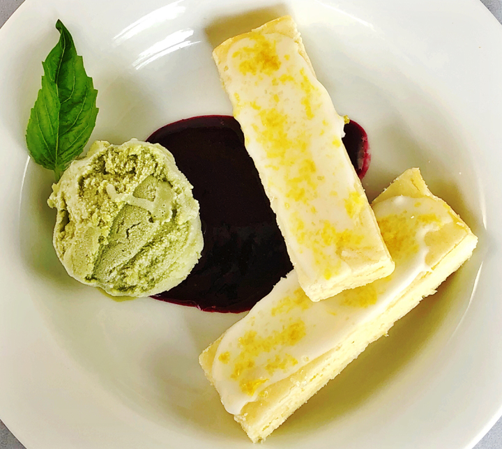 Basil Gelato With Iced Lemon Cookies And Blueberry Sauce