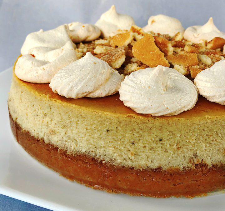 Banana Pudding Cheesecake With Banana Meringue cookies