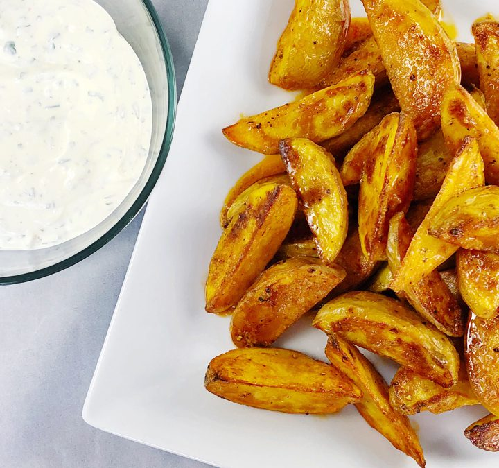 Buffalo Sauce Potatoes Wedges With Cilantro Ranch Dressing