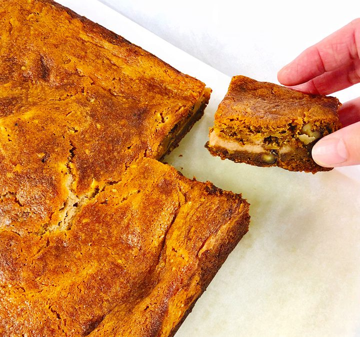 Pumpkin Bars with Cinnamon Cream Cheese Swirl