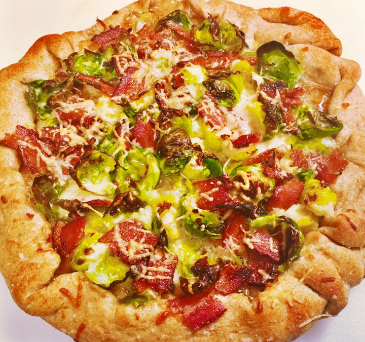 Brussels Sprouts and Bacon Cast Iron Pan Pizza