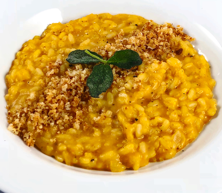 Pumpkin Risotto with Fried Sage & Toasted Parmesan