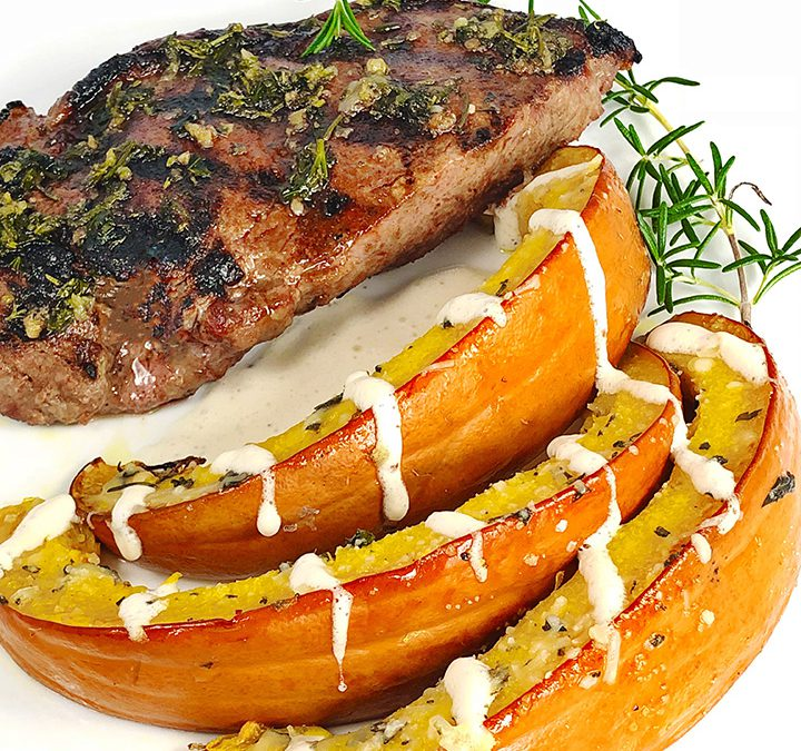 Oven Roasted Pumpkin With Herb Butter, Grilled Steaks, and Apple Cider Creme