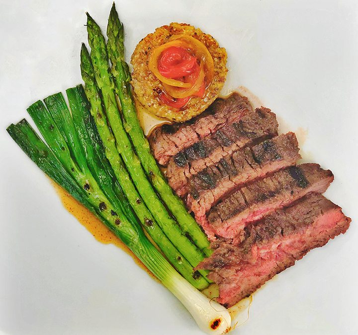 Ancho Maple Glazed Grilled Hanger Steak and Summer Vegetables with Corn Cakes