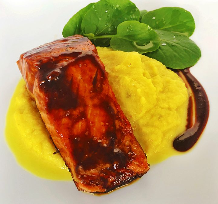 Pan-Seared Salmon With Cherry Bourbon Sauce