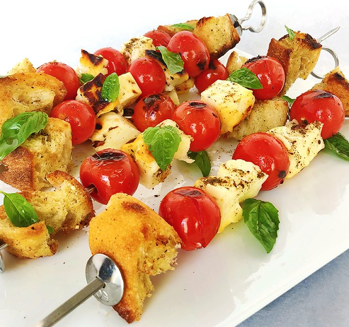 Grilled Halloumi Cheese Skewers with Cherry Tomatoes and Za'atar Spice