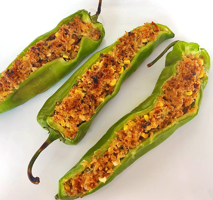 Grilled Chorizo and Cheese Stuffed Anaheim Peppers