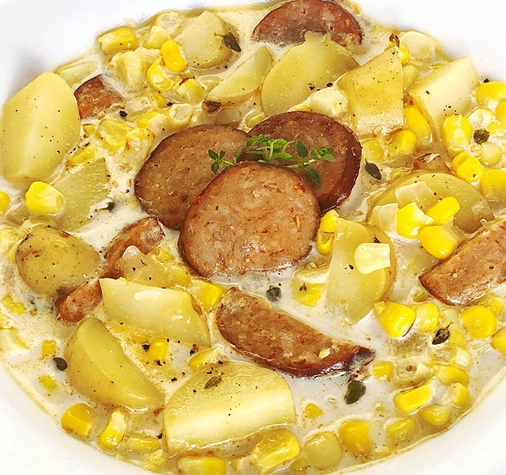 Fresh Corn Chowder with Chorizo