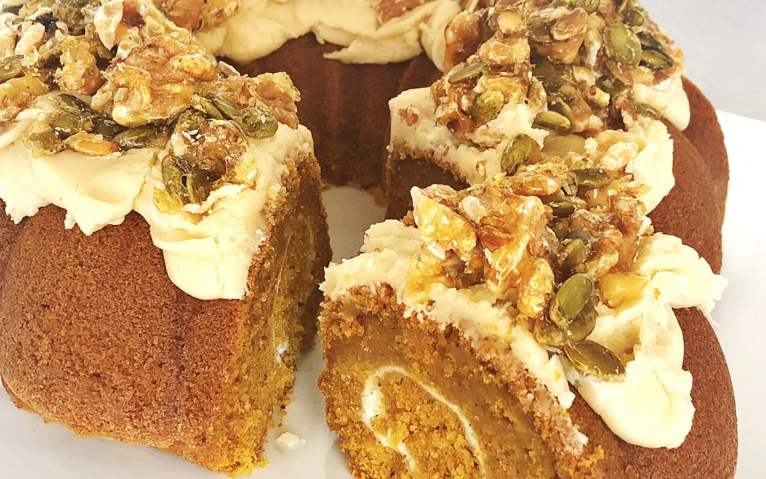 Pumpkin Spice Cake with Brown Butter Maple Icing and Caramelized Walnuts and Pepitos
