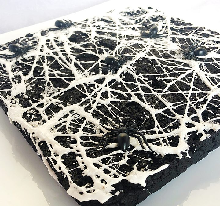 Black Chocolate Brownies with Marshmallow Spider Webs