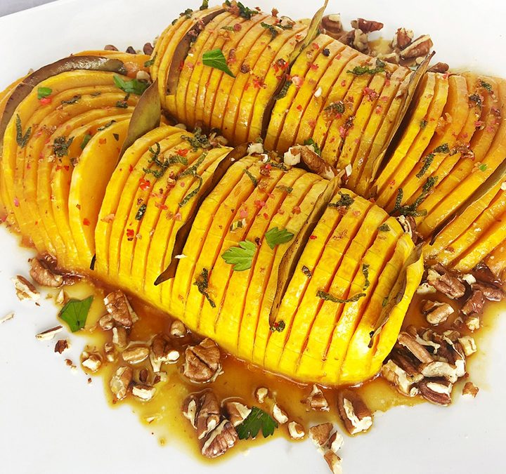Hasselback Butternut Squash with Birch Syrup, Sage, & Pecans
