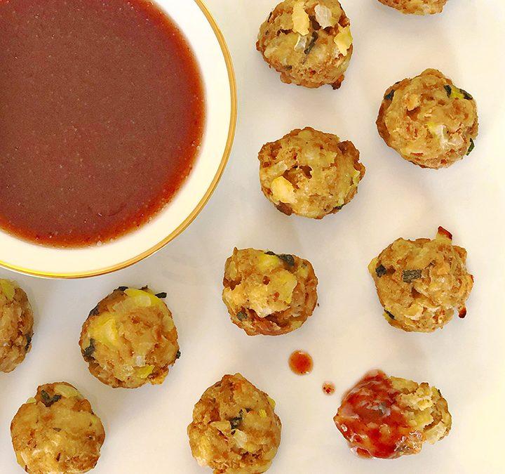 Crispy Stuffing Balls with Cranberry Sauce Dip