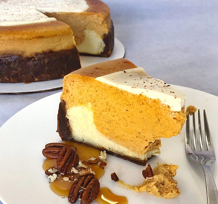 Vanilla Bean Bottom Pumpkin Cheesecake with Sour Cream & Nutmeg topping