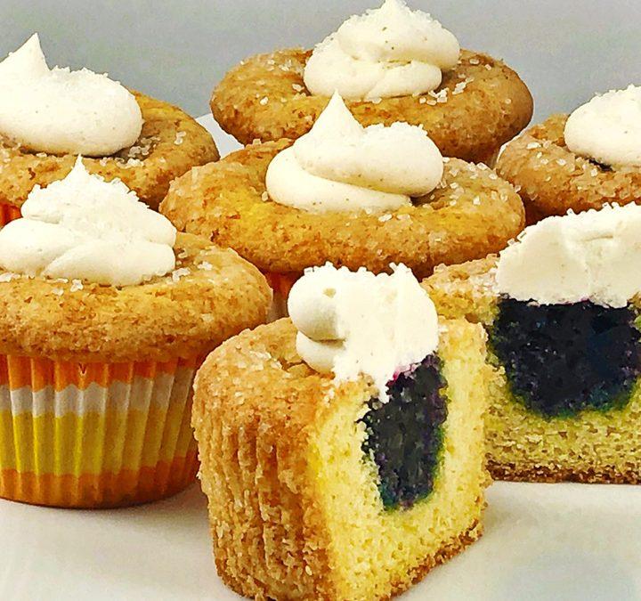 Lemon Muffins with Blueberry Jam Filling and Lemon Buttercream