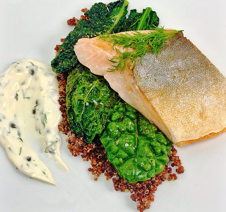 Sous Vide Arctic Char with Red Quinoa, Sesame Dragon Kale, and Lemon Caper Sauce