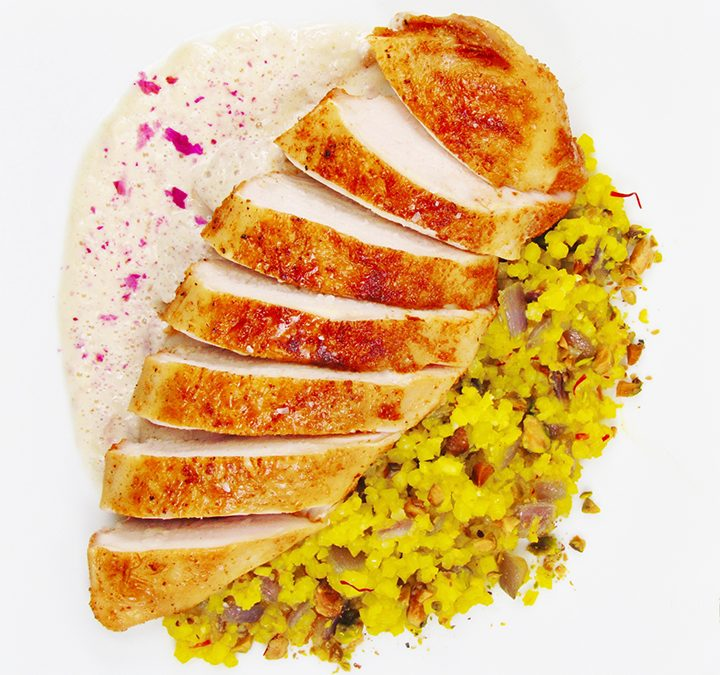 Rose Chicken with Pistachio Saffron Cauliflower Rice
