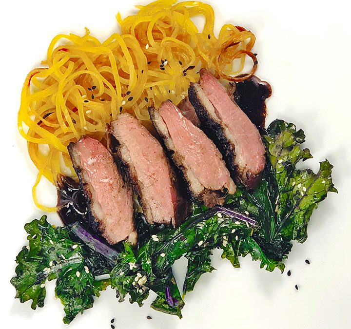 Asian Spiced Duck Breast with Sesame Kale and Spiralized Turnips