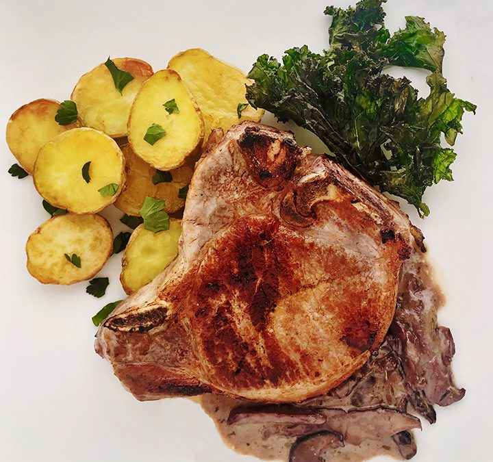 Sous Vide Pork Chops with Mushroom Cream Sauce & Oven Roasted Potatoes