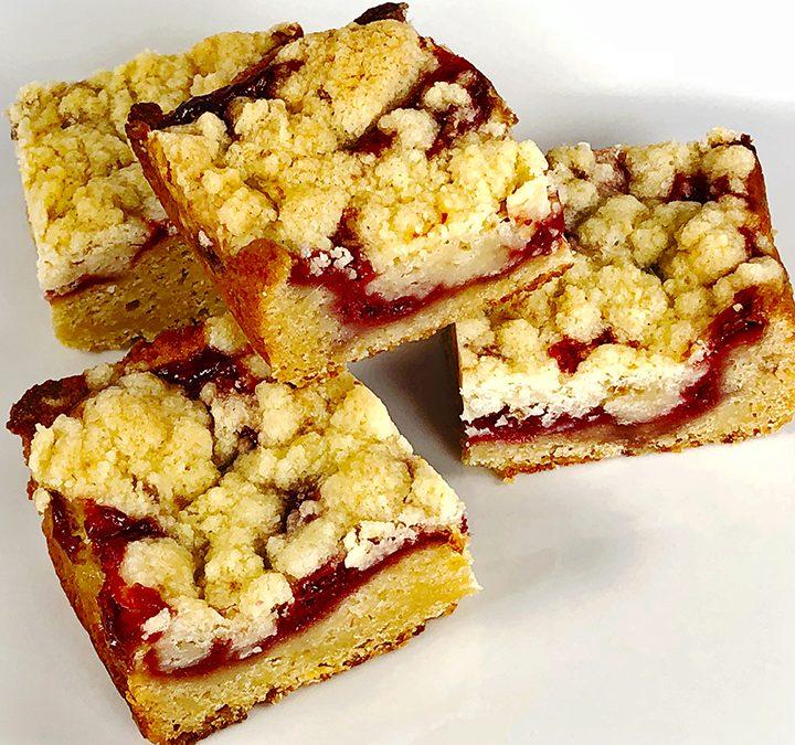 Strawberry Jam Streusel Cookie Bars